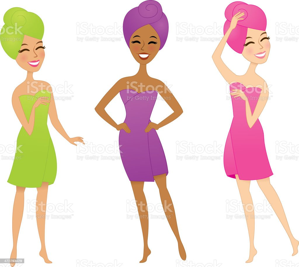 Three women wearing towels royalty-free stock vector art