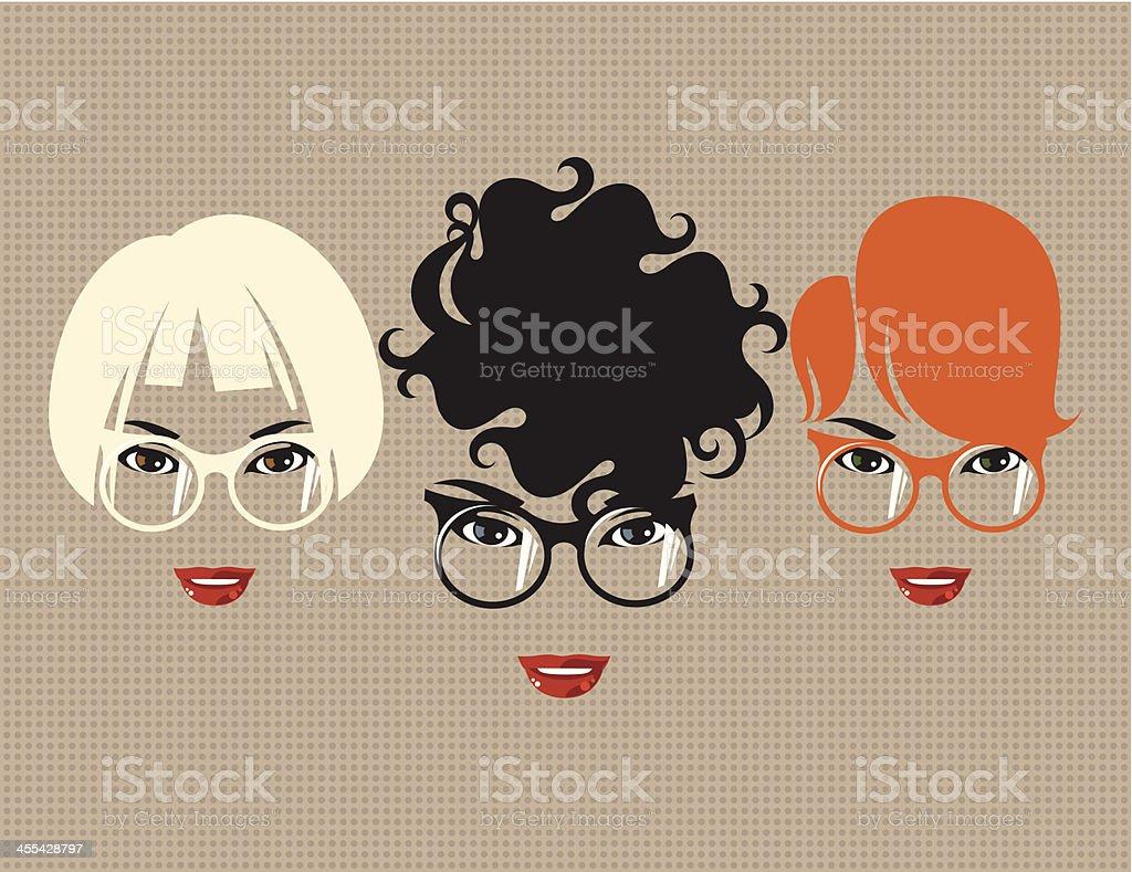 Three women with glasses. vector art illustration