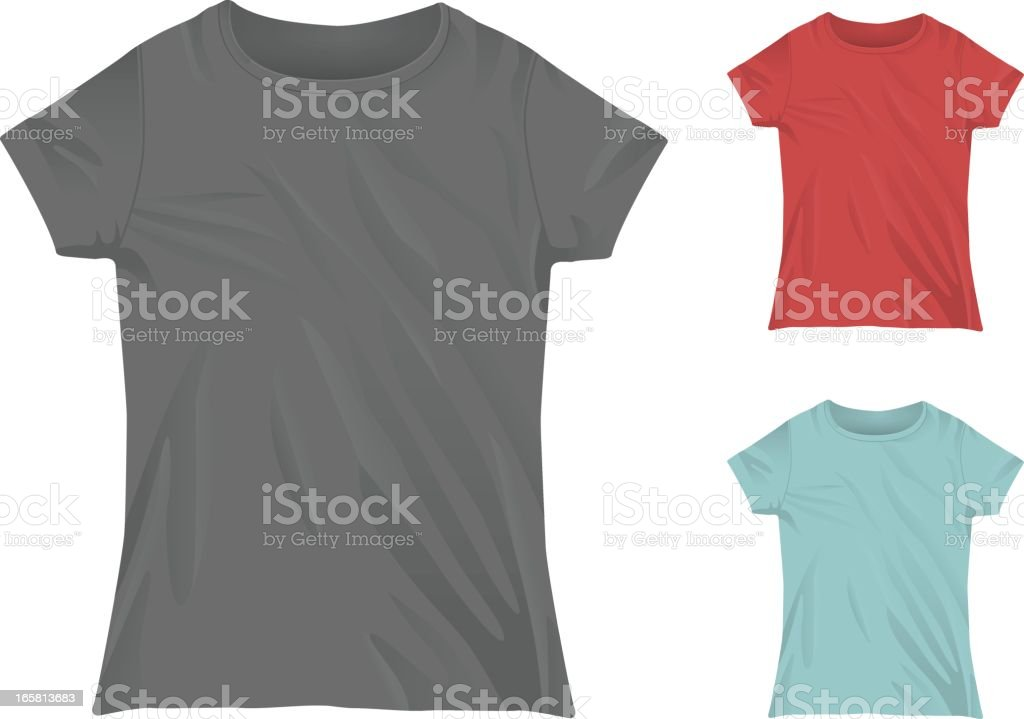 Three women's crewneck t shirts vector art illustration