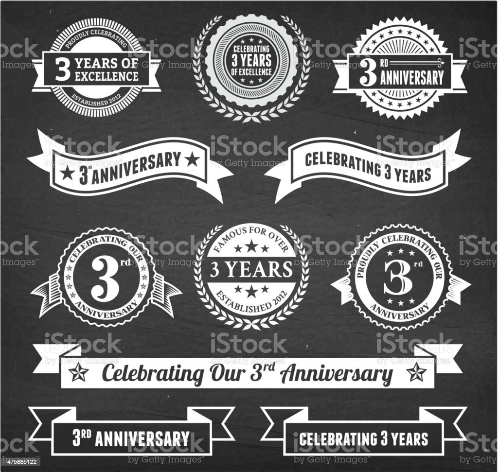 three year anniversary hand-drawn chalkboard royalty free vector background vector art illustration