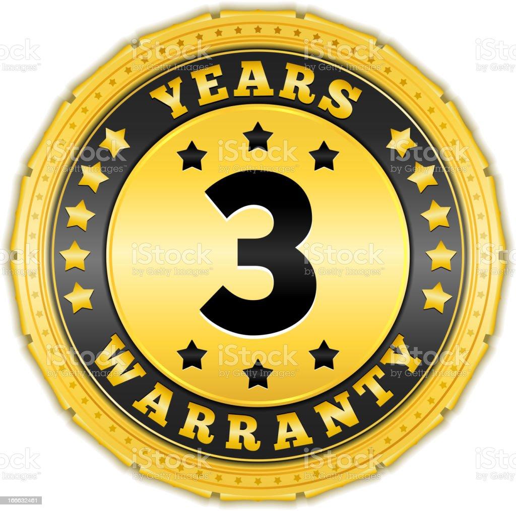 Three Years Warranty royalty-free stock vector art