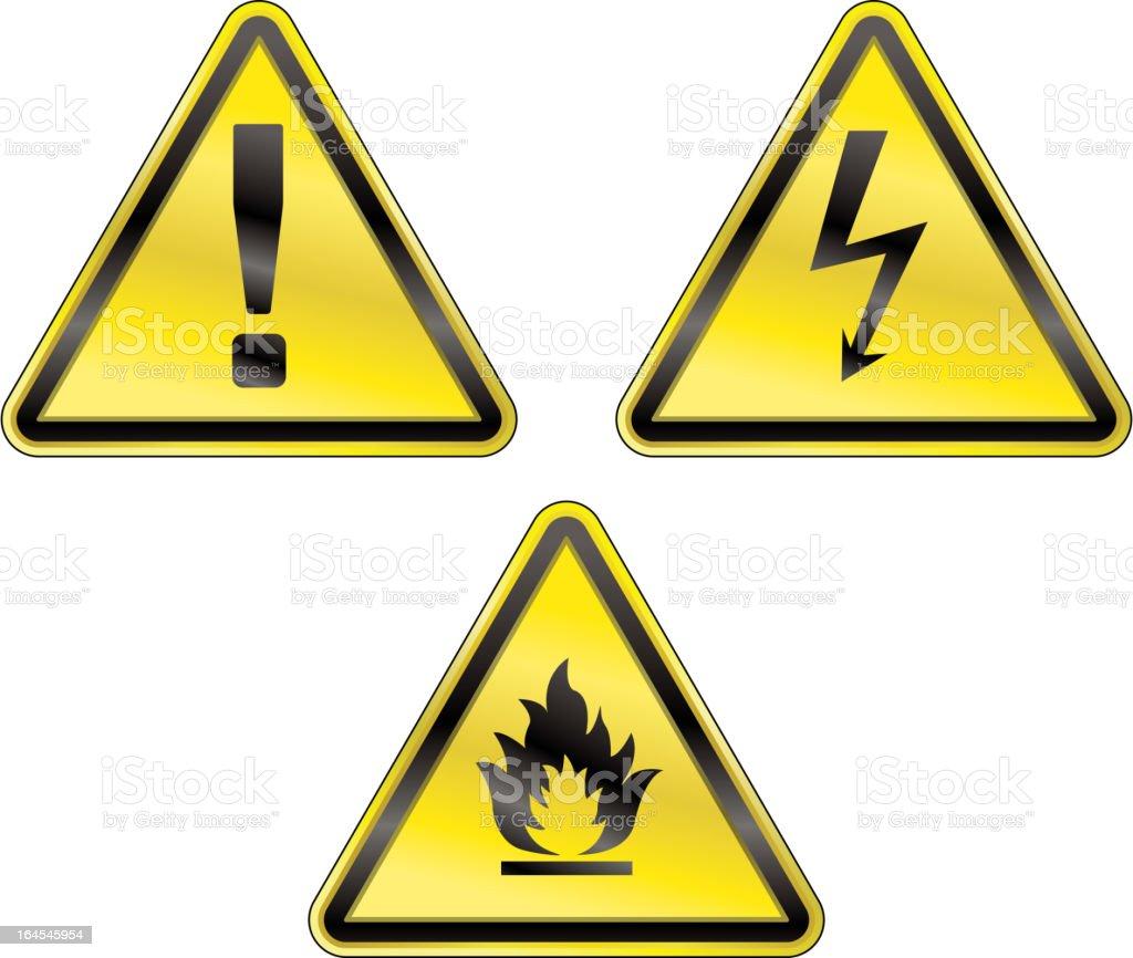 Three yellow triangular warning signs royalty-free stock vector art