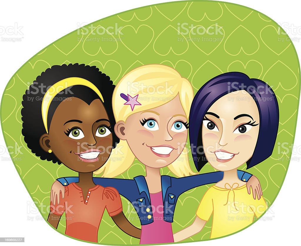 Three young girl friends smiling royalty-free stock vector art