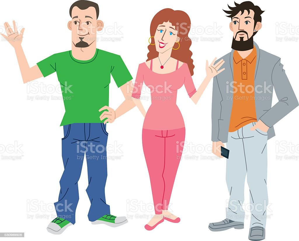 Three Young People vector art illustration