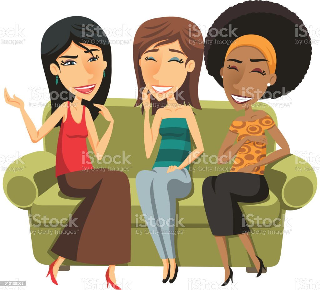 three Young women chatting vector art illustration
