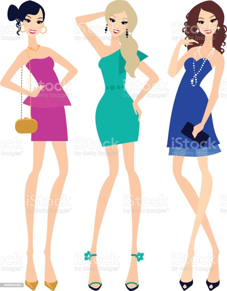 Three young women in cocktail dresses vector art illustration