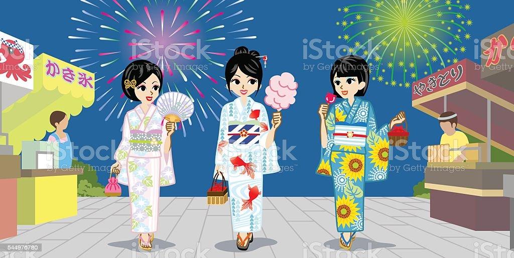 Three Yukata girls in Japanese Summer Firework Display vector art illustration