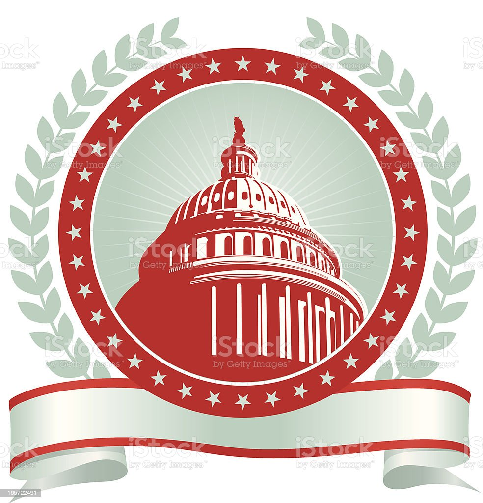 Three-color emblematic drawing of the nation's Capitol  vector art illustration