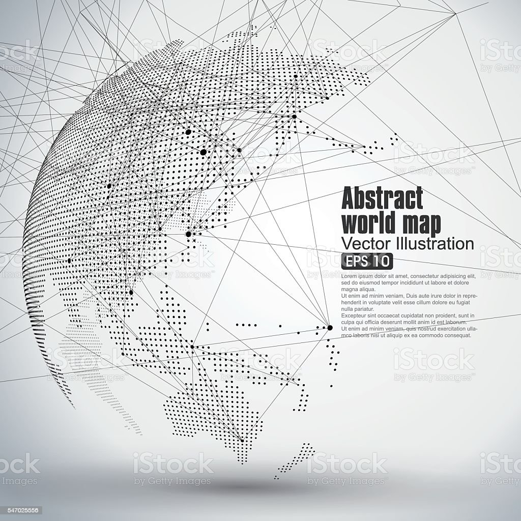 Three-dimensional abstract planet,  representing the global, vector art illustration