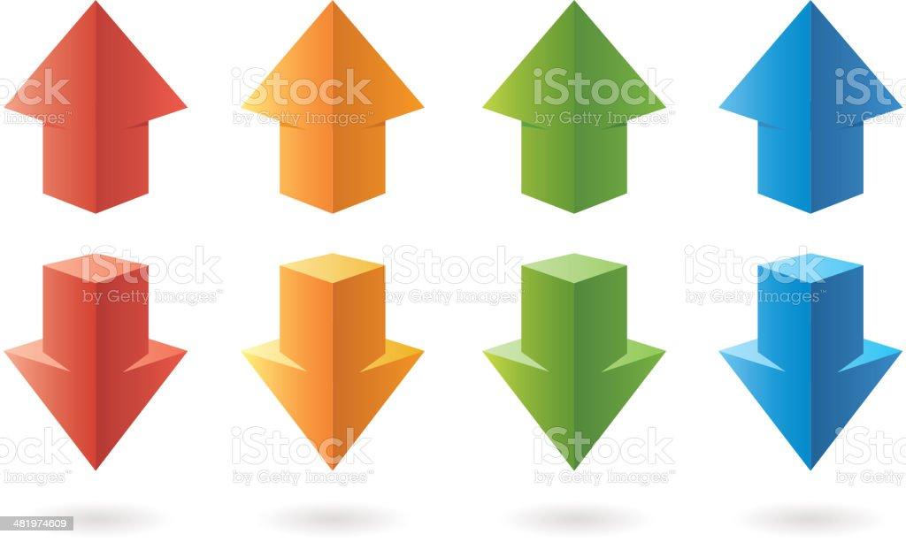 Three-dimensional color arrows vector art illustration