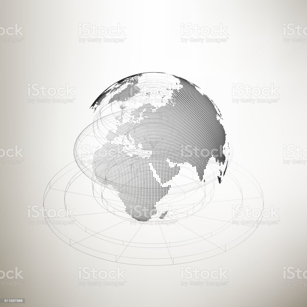 Three-dimensional dotted world globe with abstract construction on gray vector art illustration