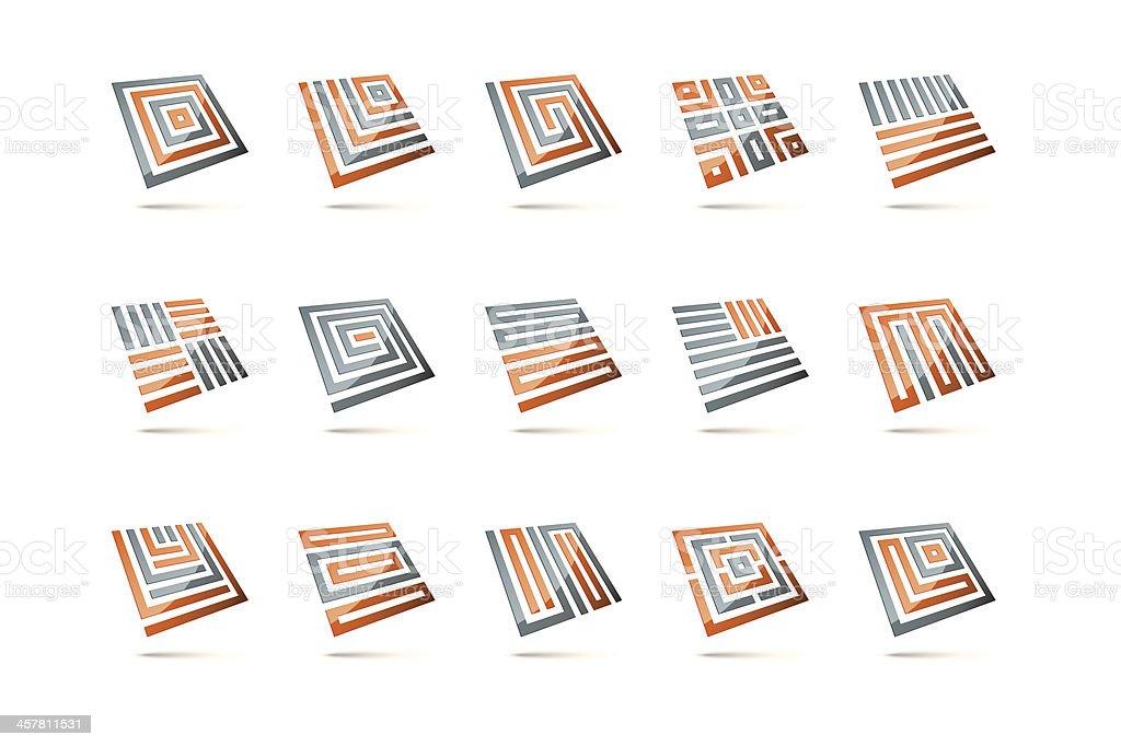 Three-dimensional glossy square design elements set vector art illustration