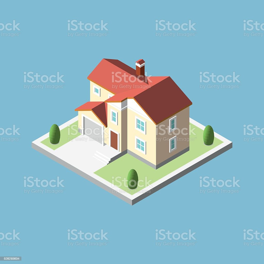 Three-dimensional isometric village building vector art illustration