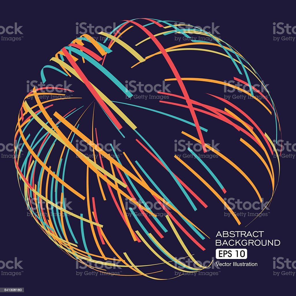 Three-dimensional sphere composed of multicolored curves, abstract graphics. vector art illustration