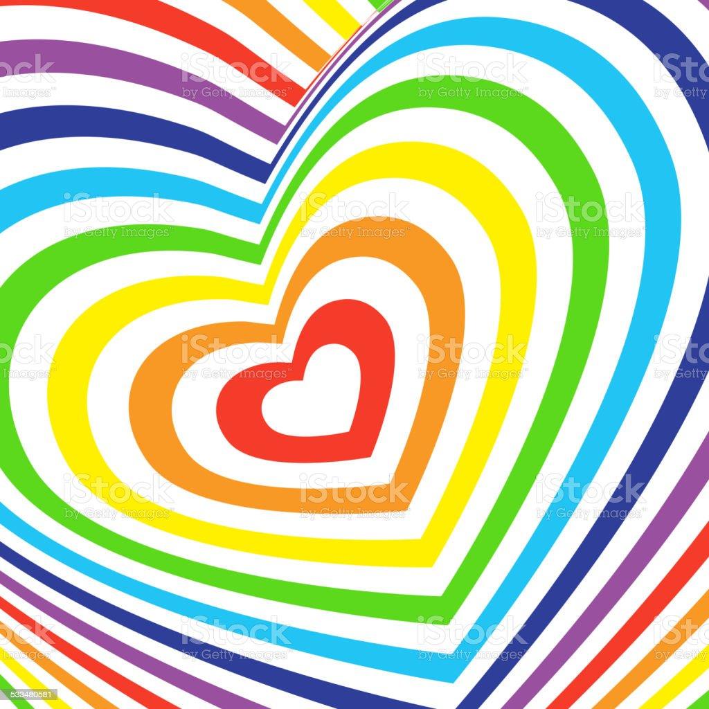 Three-dimensional volumetric valentines day card. colorful rainbow vector art illustration
