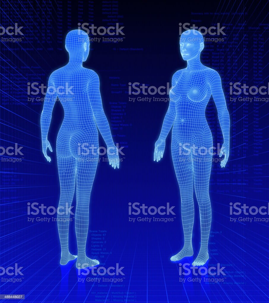 Three-dimensional woman bodies on abstract background vector art illustration