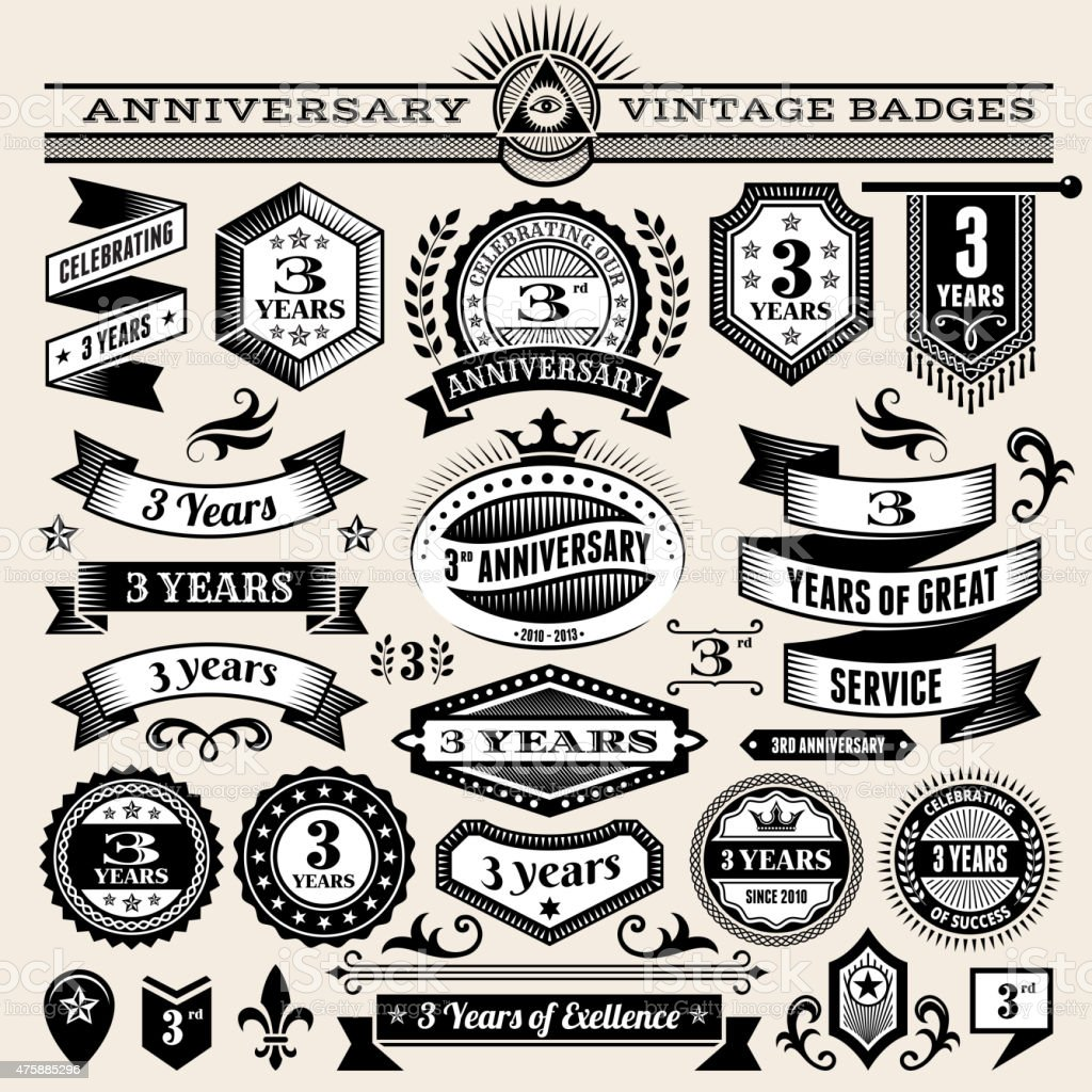threee year anniversary hand-drawn royalty free vector background on paper vector art illustration