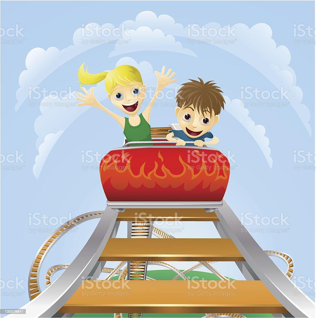 Thrilling roller coaster ride vector art illustration