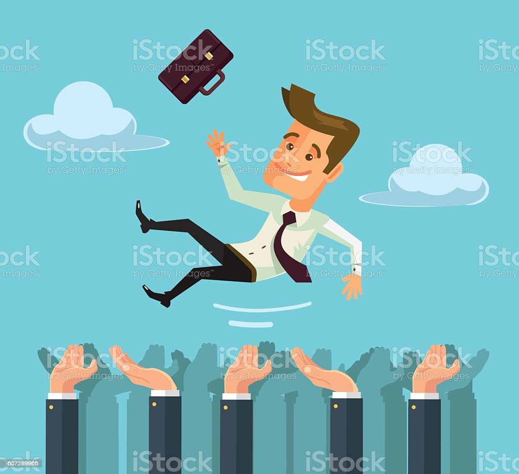 Throw hands happy businessman character in the air vector art illustration