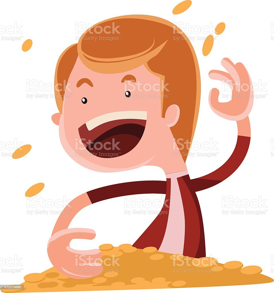 Throwing gold coins vector illustration cartoon character vector art illustration