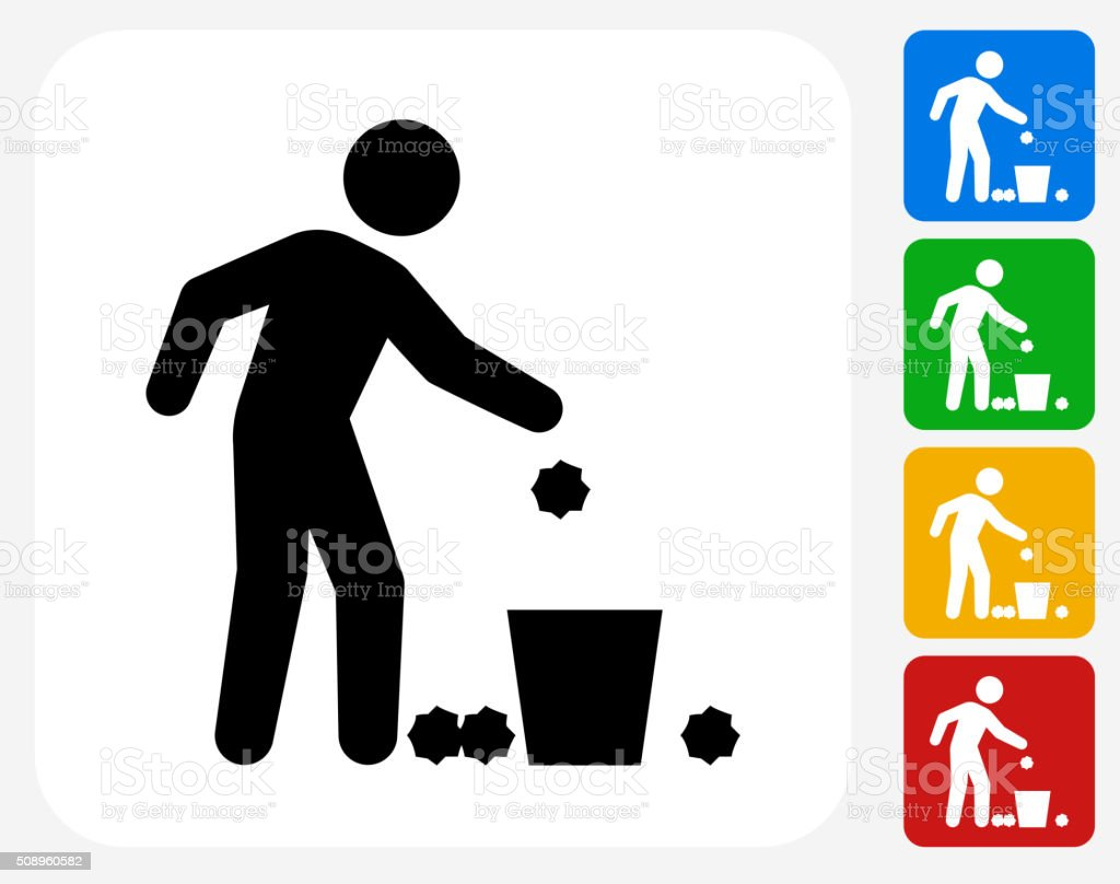 Throwing Trash Icon Flat Graphic Design vector art illustration