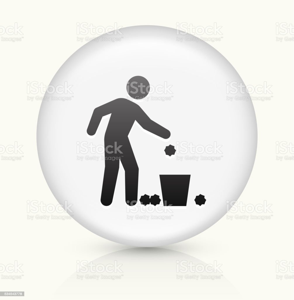 Throwing Trash icon on white round vector button vector art illustration