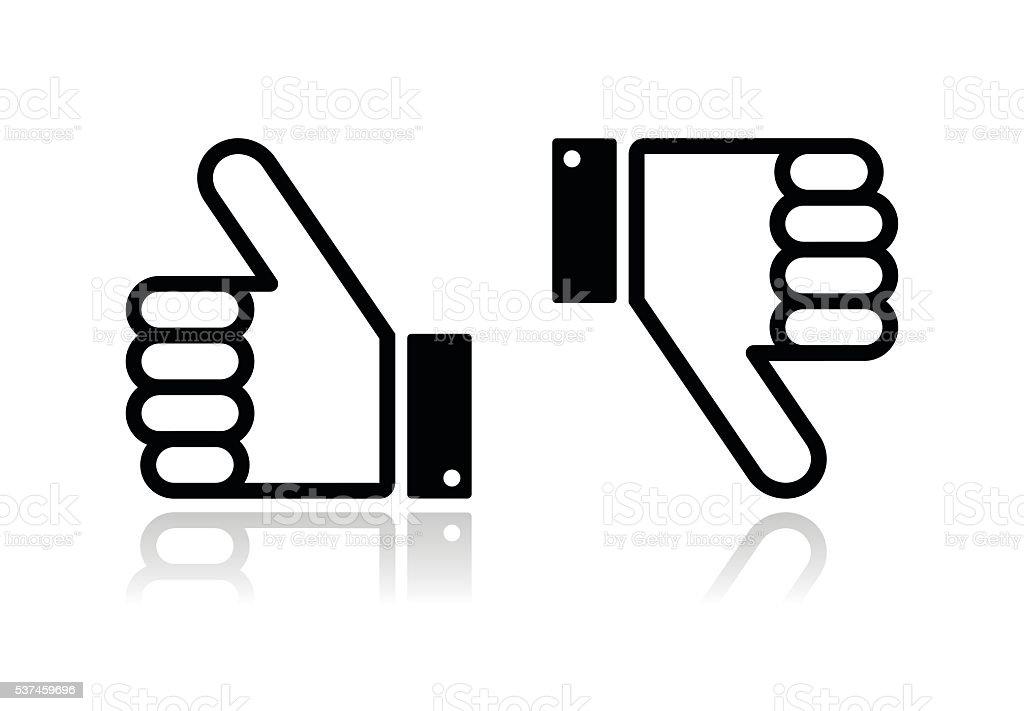 Thumb up and down black icon - social media vector art illustration