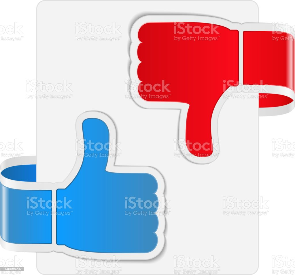 Thumb up and down labels stock photo