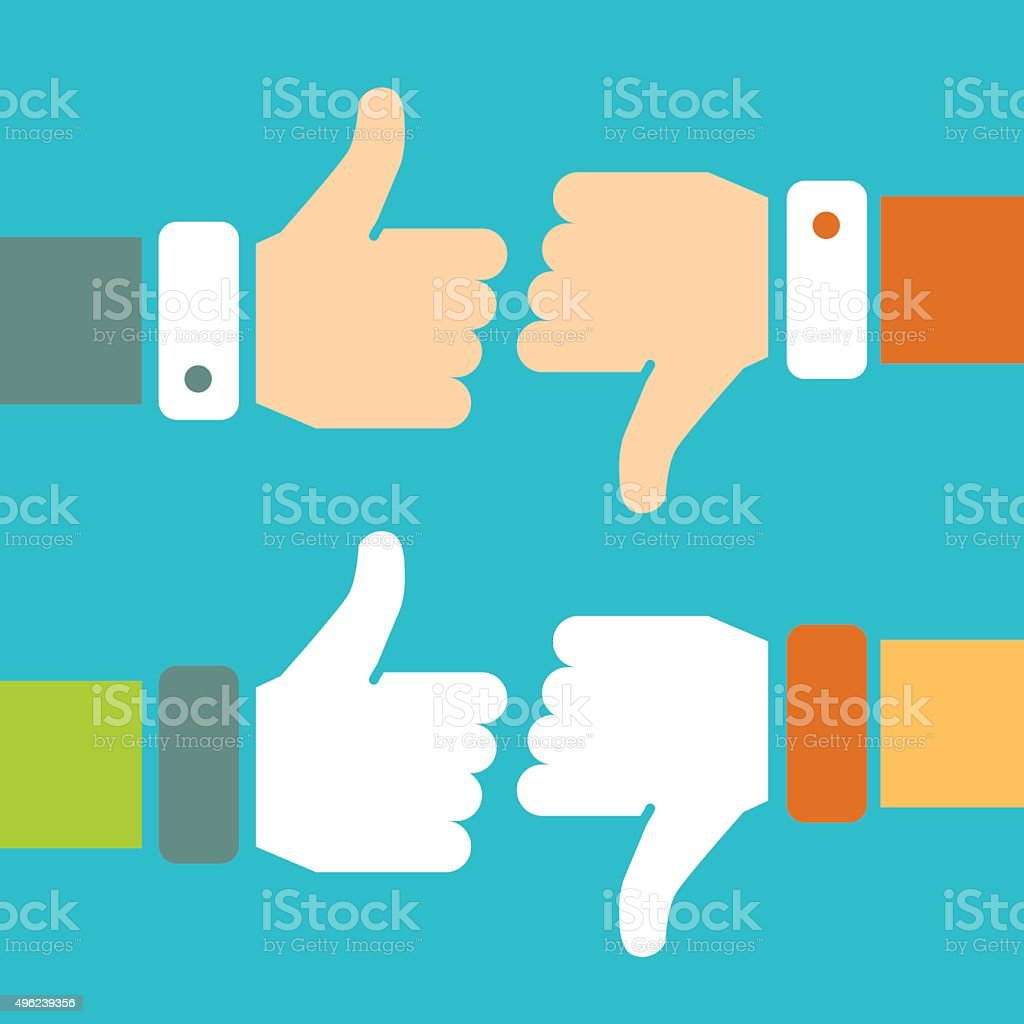 Thumb Up and Thumb Down Vector Signs vector art illustration