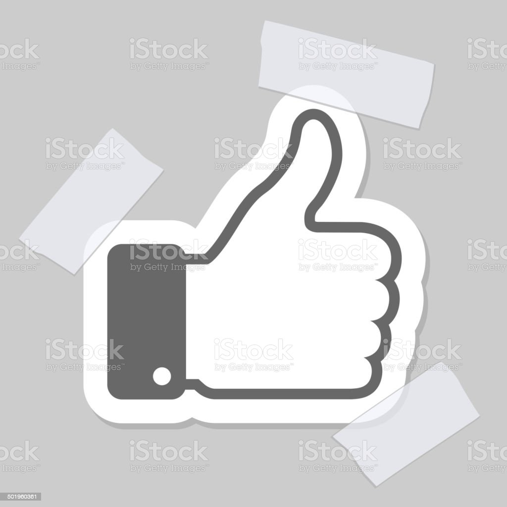 thumb up applique vector art illustration