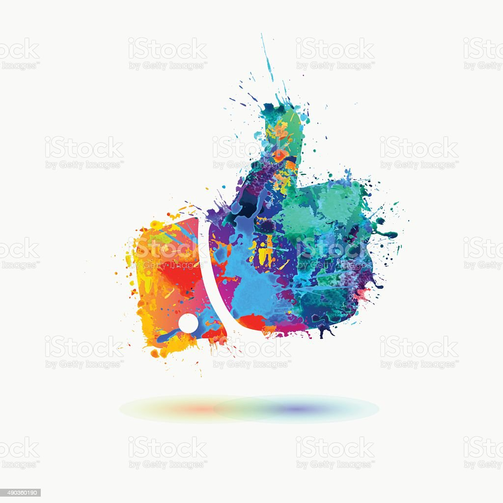 thumb up colorful sign vector art illustration