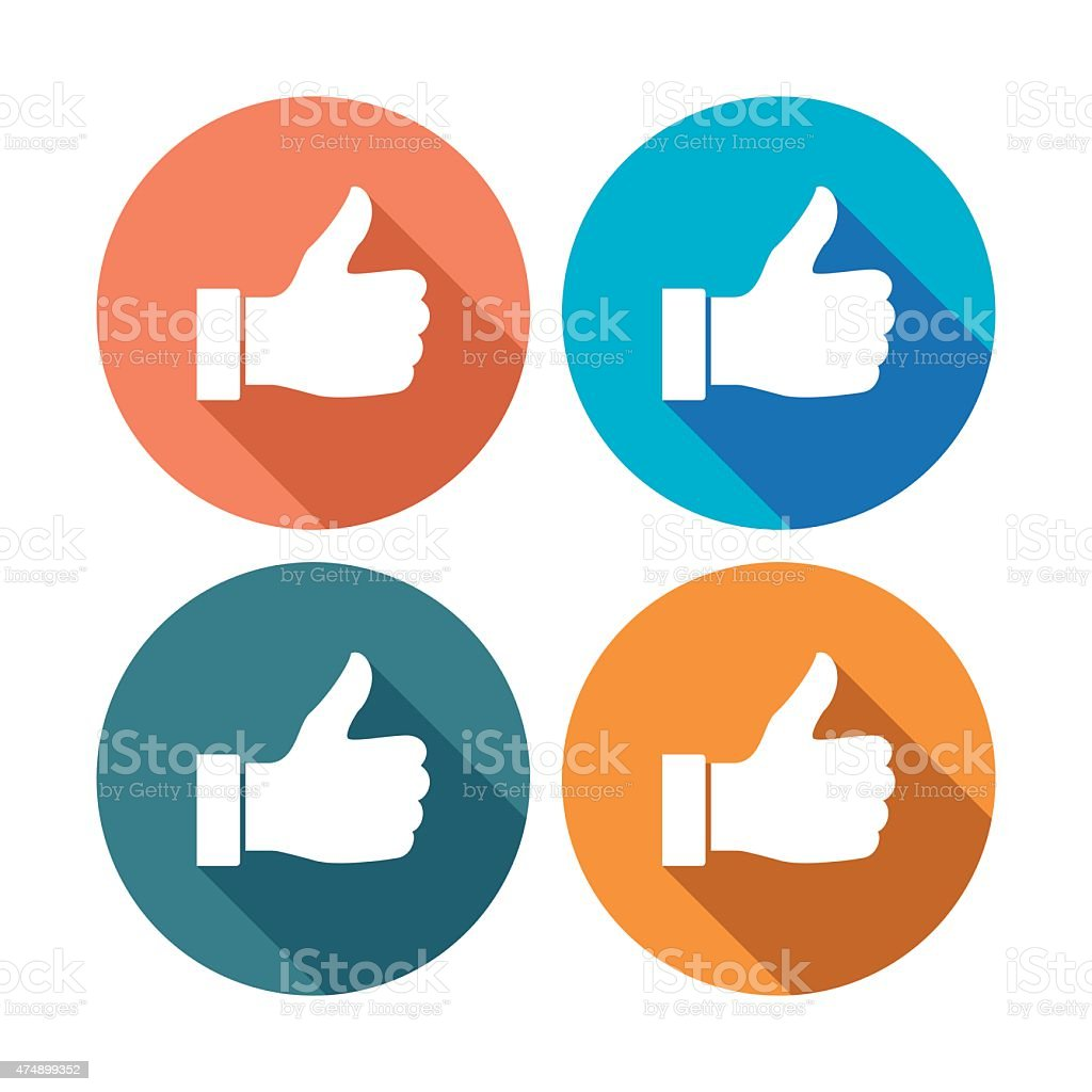Thumb up flat icons vector art illustration