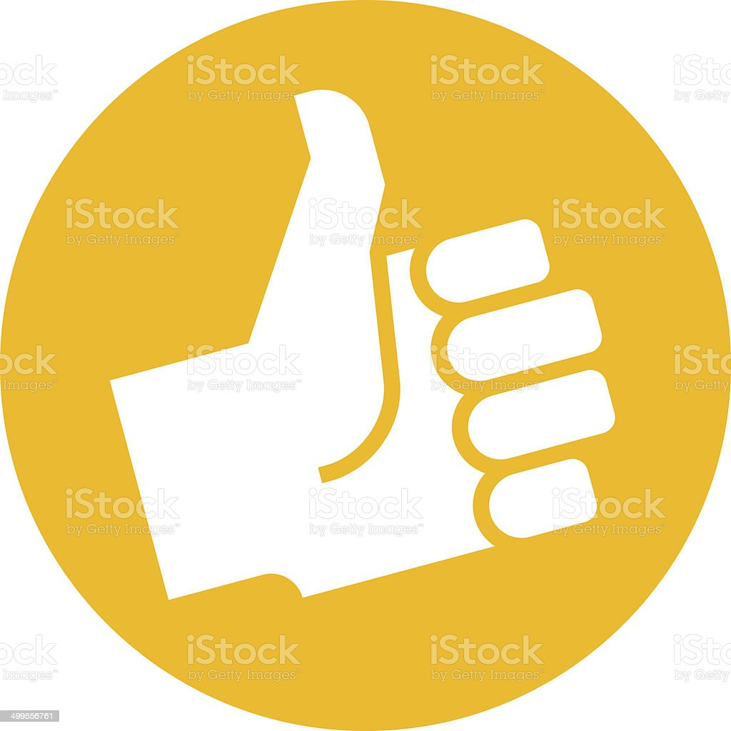 Thumb up in orange label vector art illustration
