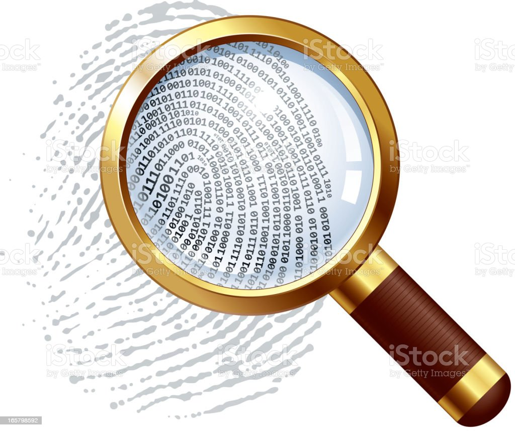 Thumbprint examination royalty-free stock vector art
