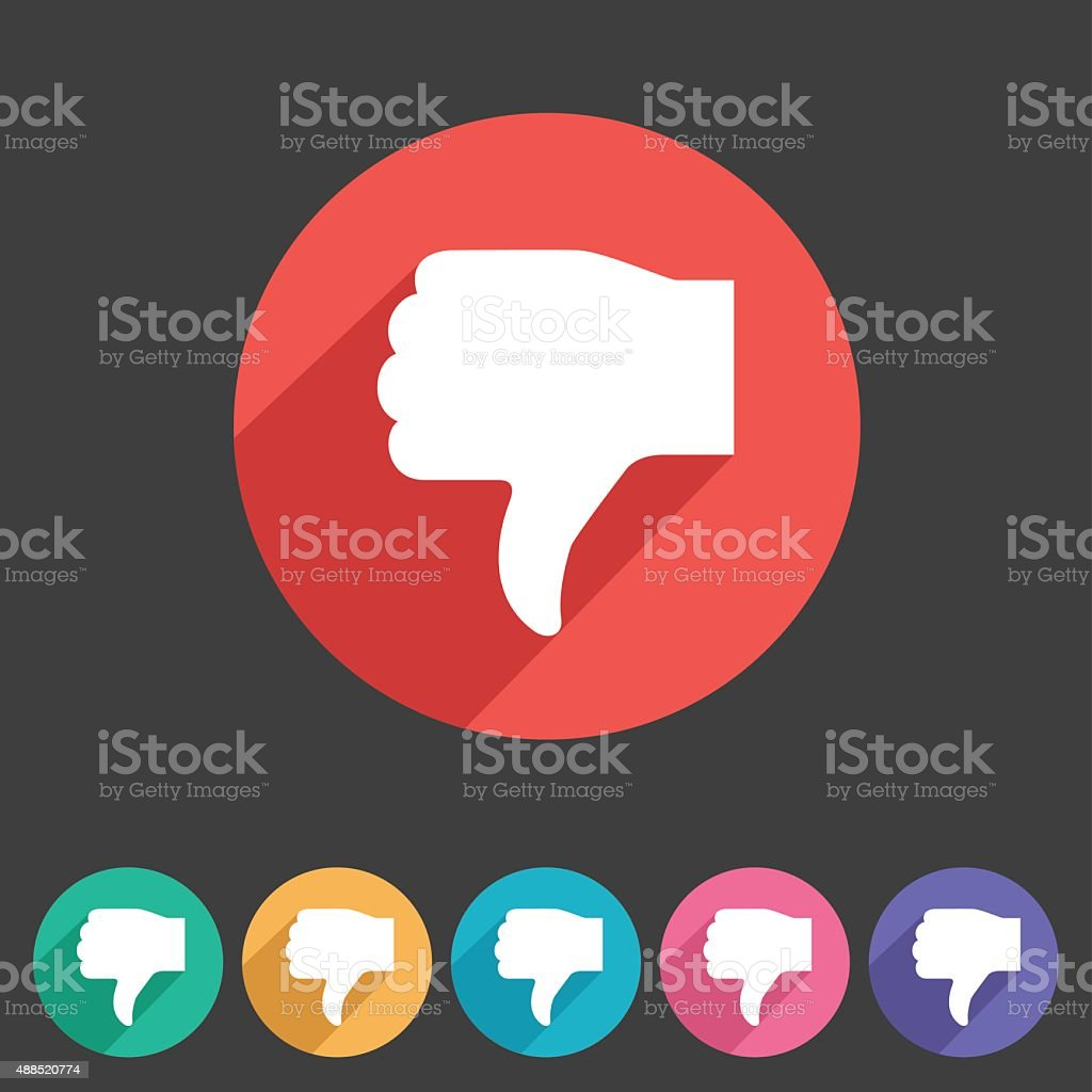 Thumbs down dislike icon flat web sign symbol logo label vector art illustration