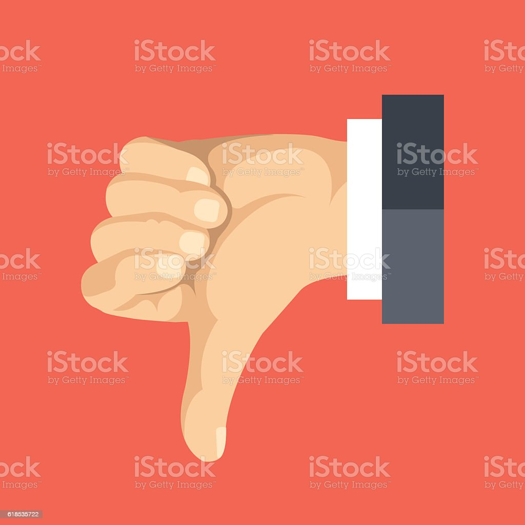 Thumbs down flat icon. Social network dislike. Flat vector illustration vector art illustration