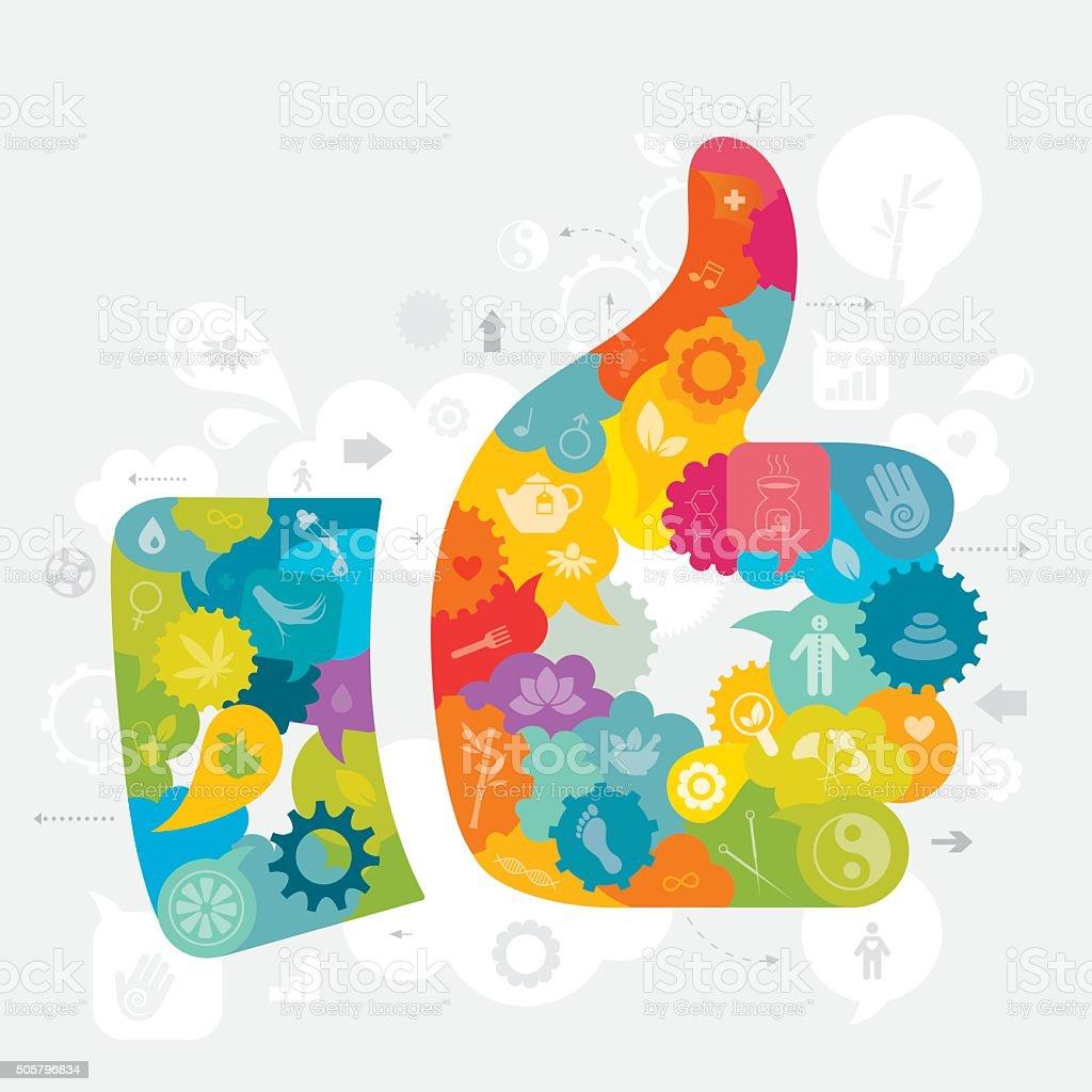 Thumbs Up Alternative Medicine vector art illustration