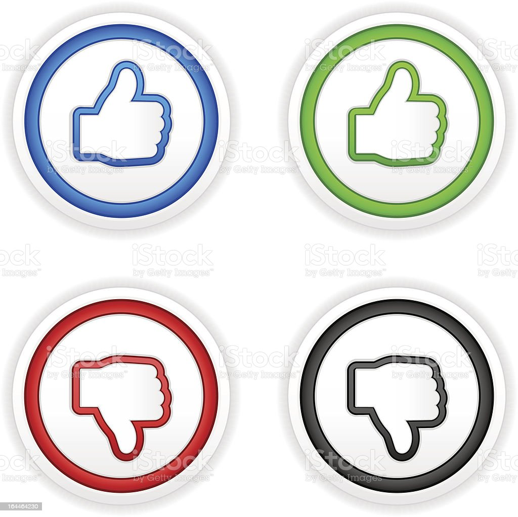 thumbs up and down buttons royalty-free stock vector art
