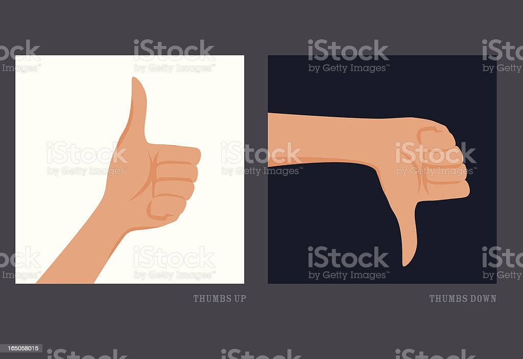 Thumbs Up and Down, Good or Bad royalty-free stock vector art
