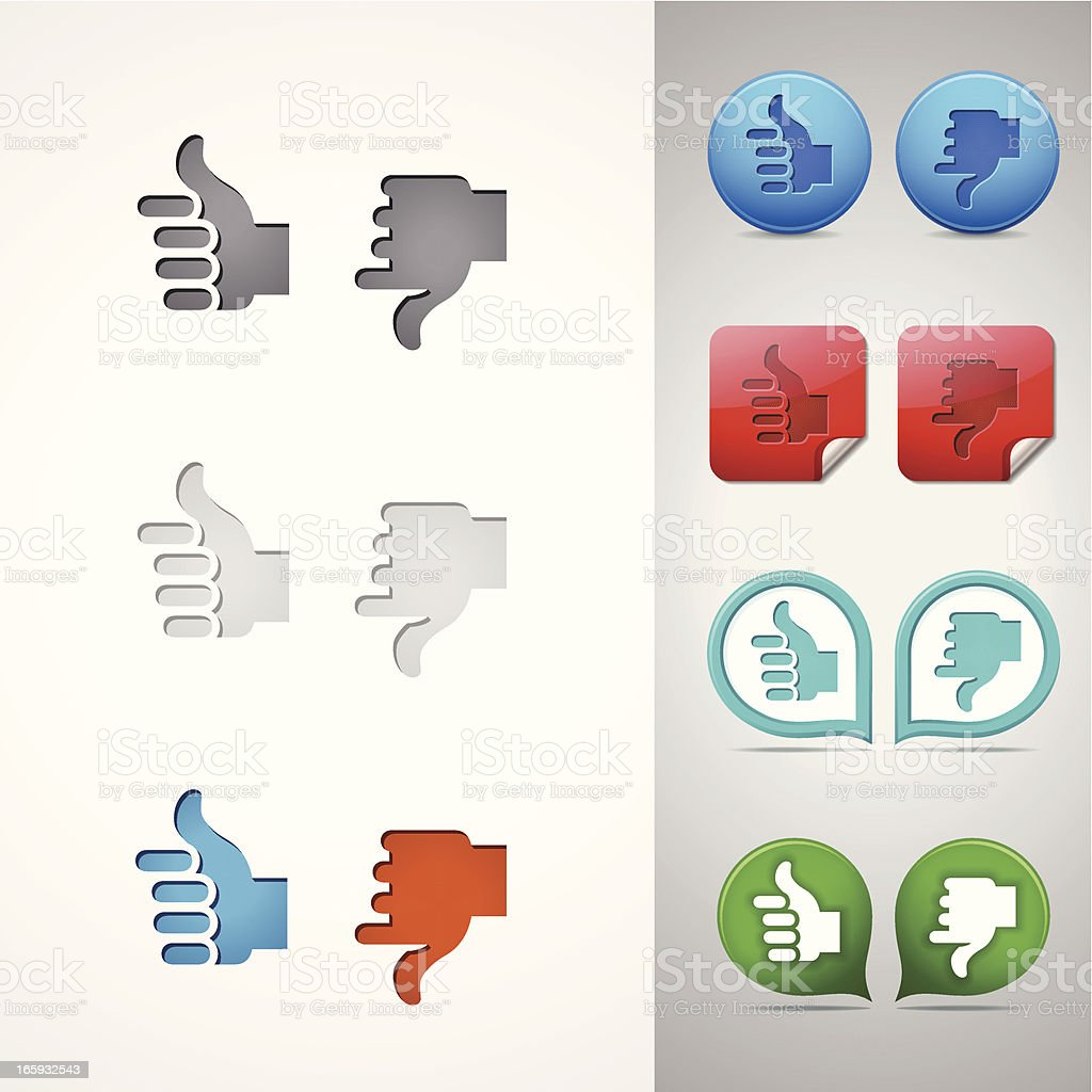 Thumbs Up and Down Icons royalty-free stock vector art