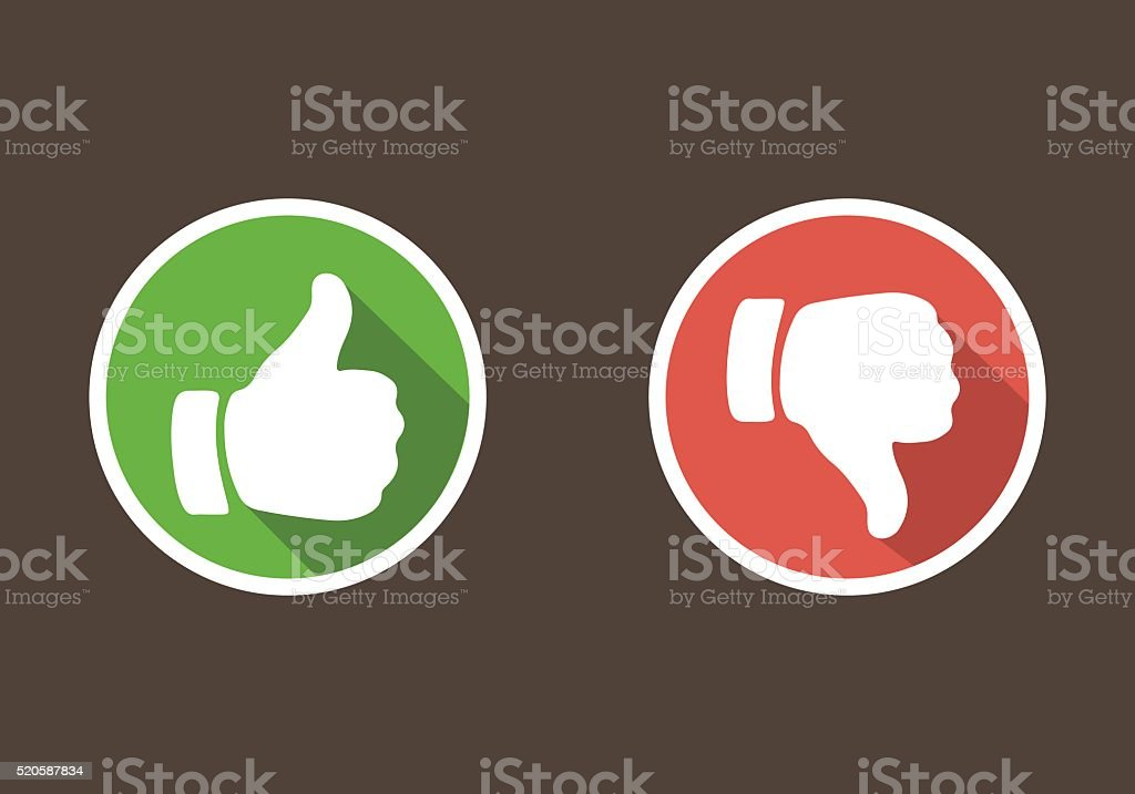 Thumbs up and thumbs down in flat style vector art illustration
