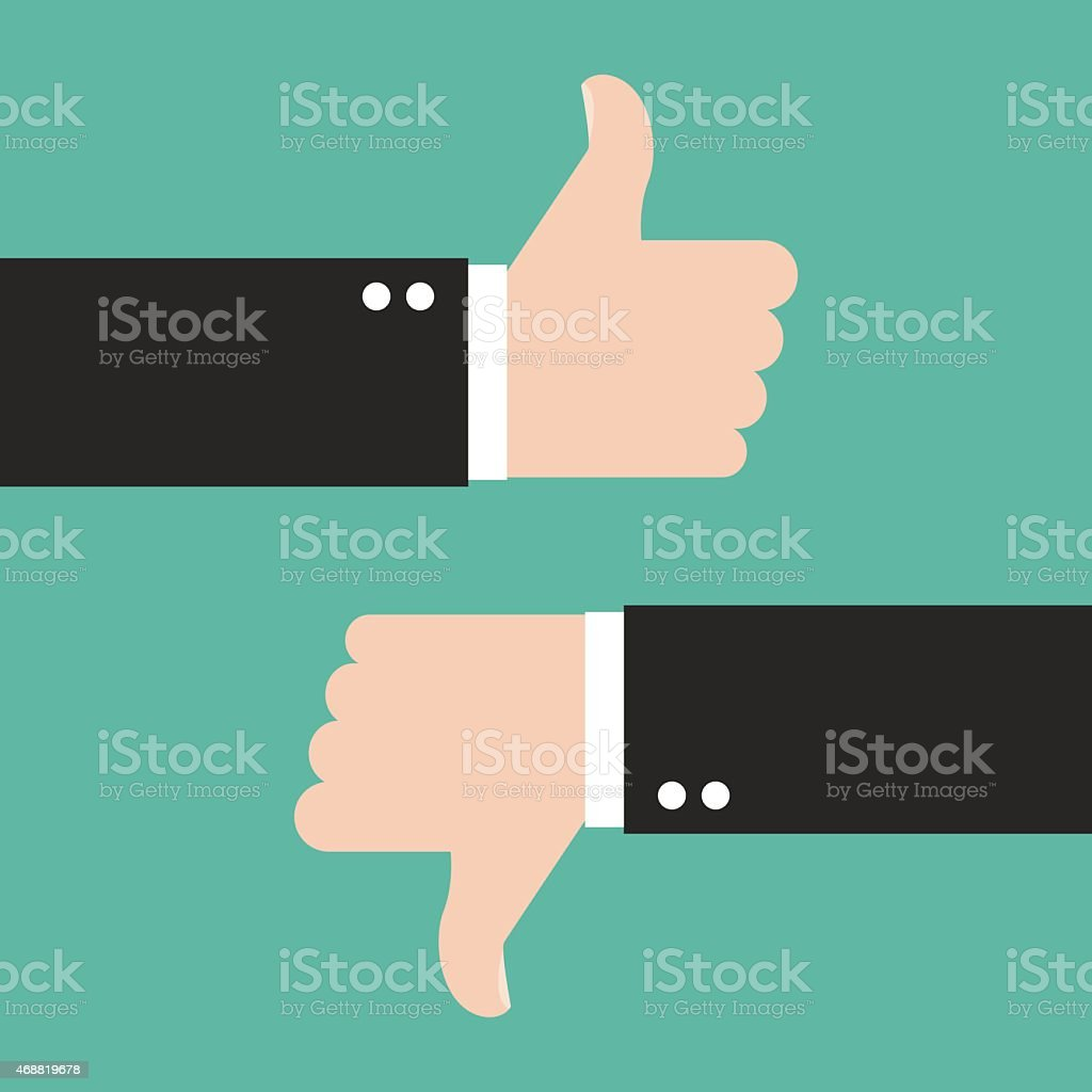 Thumbs Up and Thumbs Down vector art illustration