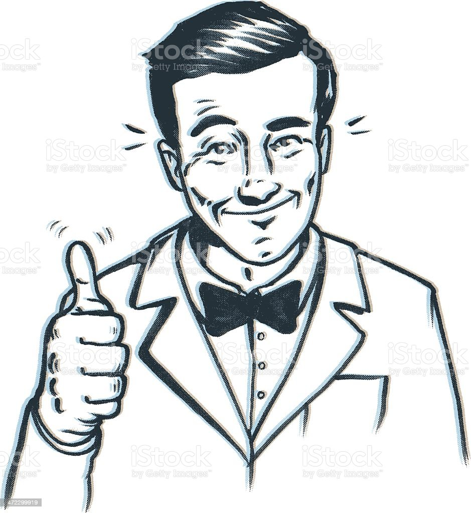 thumbs up bow tie guy vector art illustration