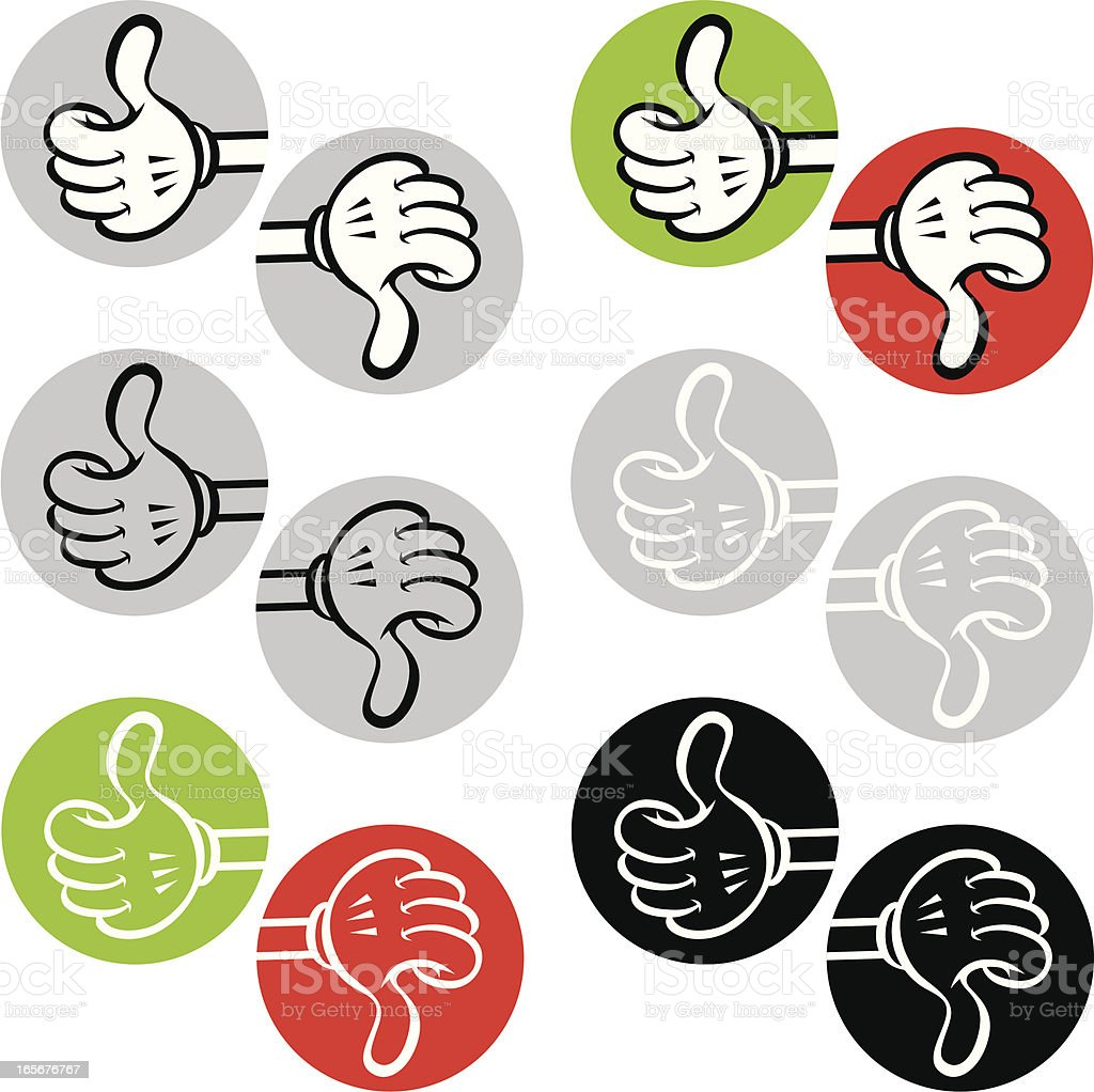 thumbs up & down cartoon icons set royalty-free stock vector art