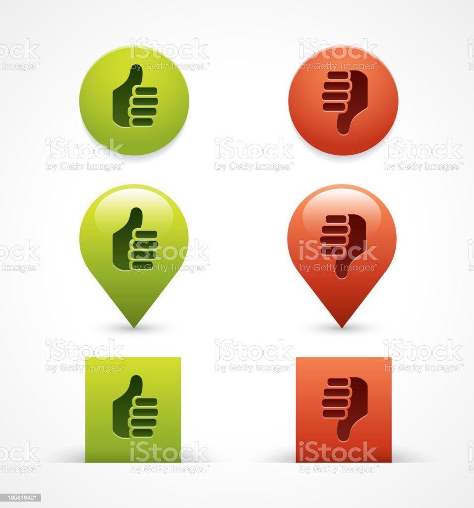 Thumbs up / down icons vector art illustration