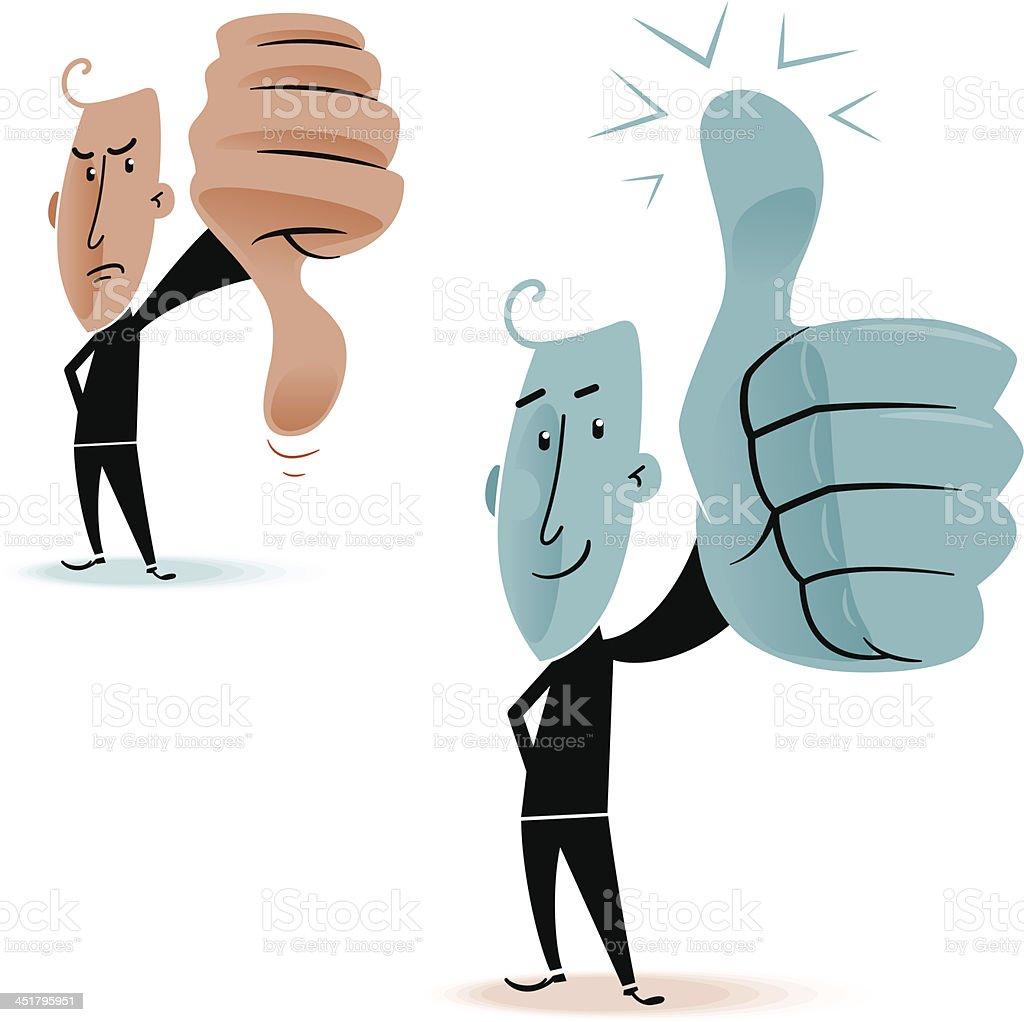Thumbs Up Down Man vector art illustration