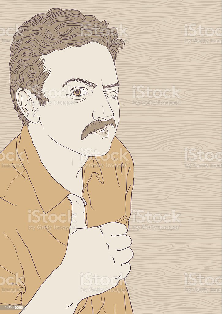 Thumbs up from Moustache Guy vector art illustration