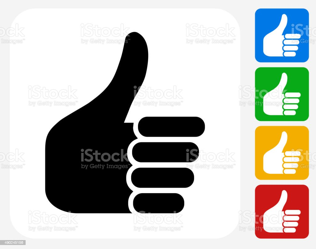 Thumbs Up Icon Flat Graphic Design vector art illustration