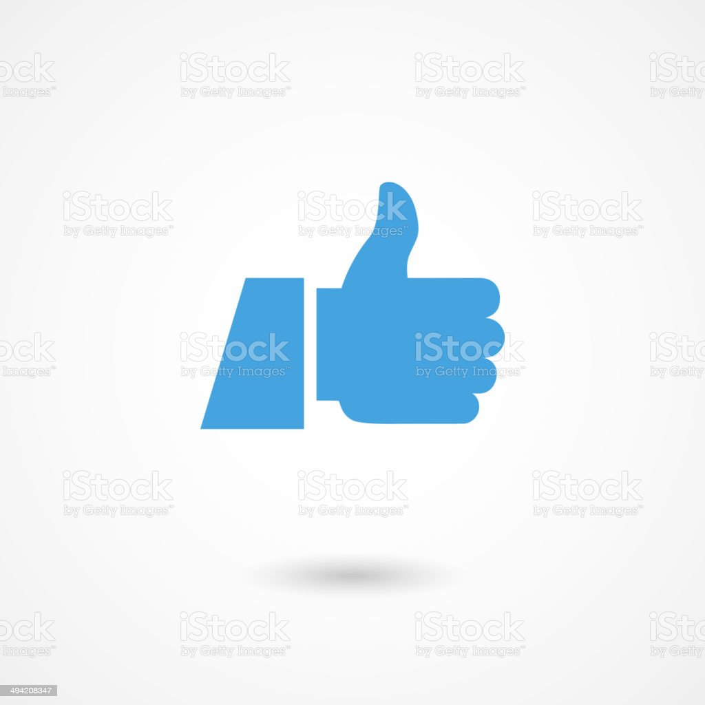 Thumbs up icon in blue on white background vector art illustration