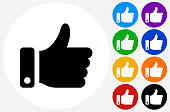 Thumbs Up Icon on Flat Color Circle Buttons